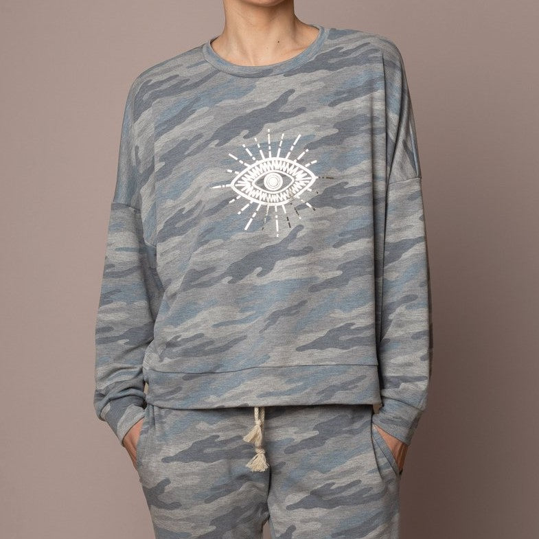 Emily Hsu Evil Eye Camo Weekend Pullover