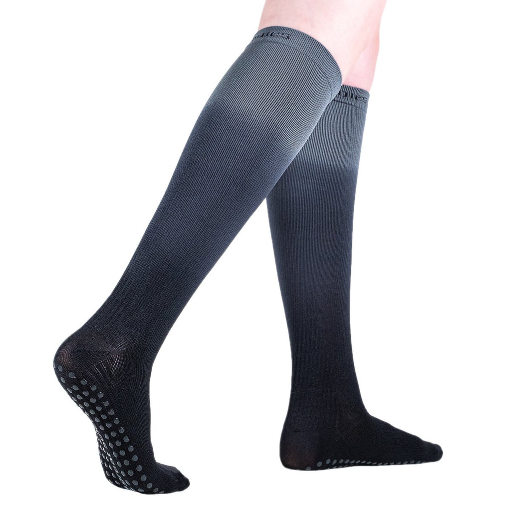 Great Soles Kiley Compression Ombre Knee High Grip Sock Dusk Black