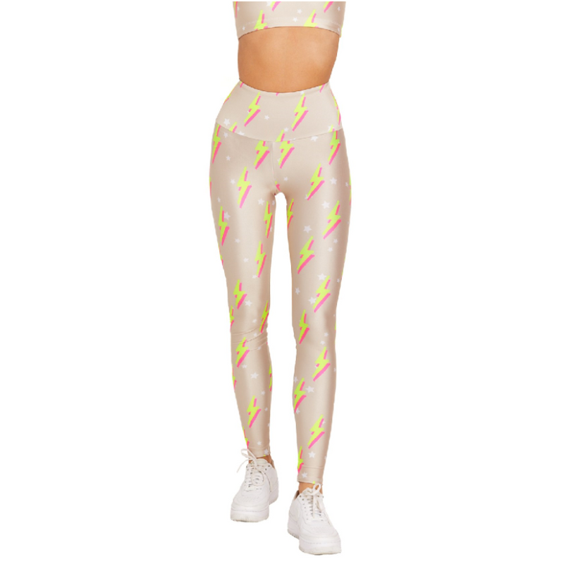 Goldsheep Nude Neon Bolts Leggings