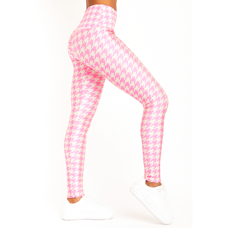 Goldsheep Neon Pink Houndstooth leggings