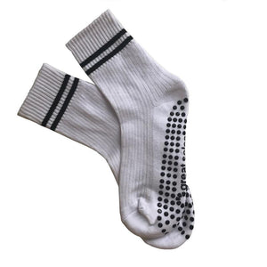 Great Soles Elliot Crew Grip Sock - White Black