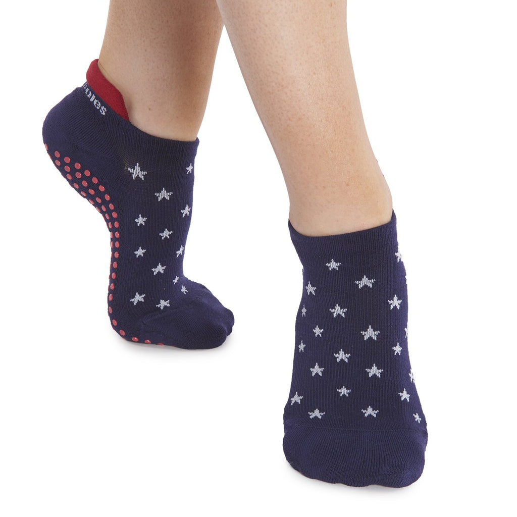 Great Soles Lucy Tab Back Grip Sock Stars Blue