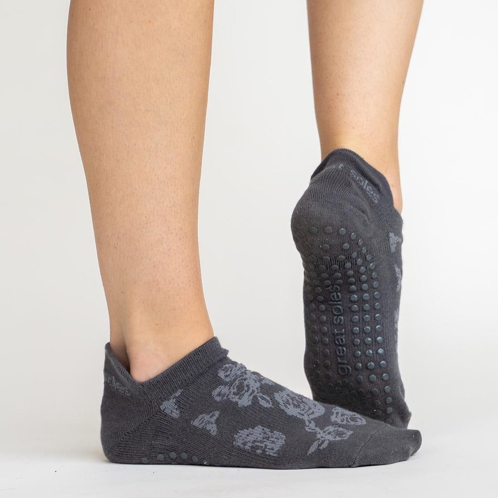 Great Soles Rose Tab Back Grip Sock - Grey White