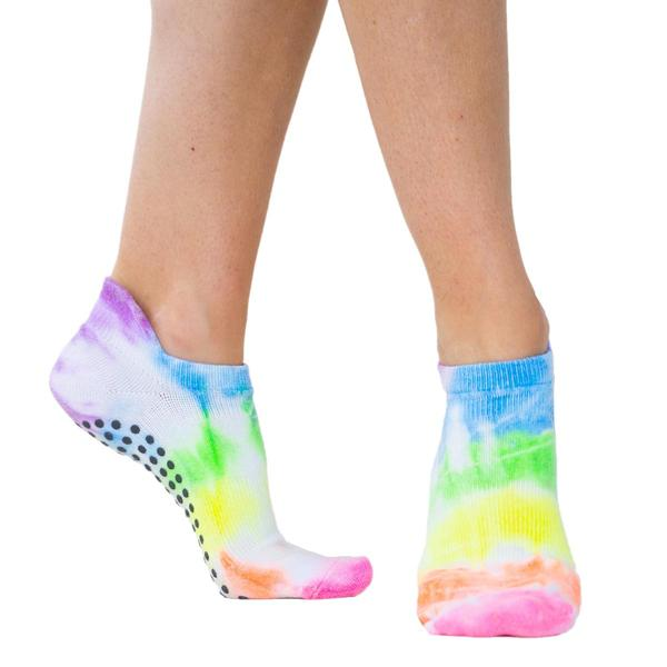 great soles grip socks avery tie dye neon multi