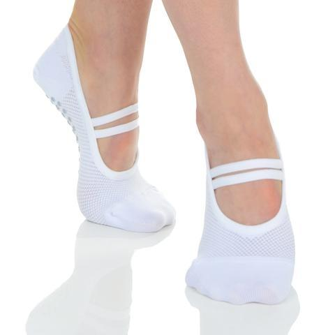 Great Soles Mia Mesh Ballet White Grey Grip Socks