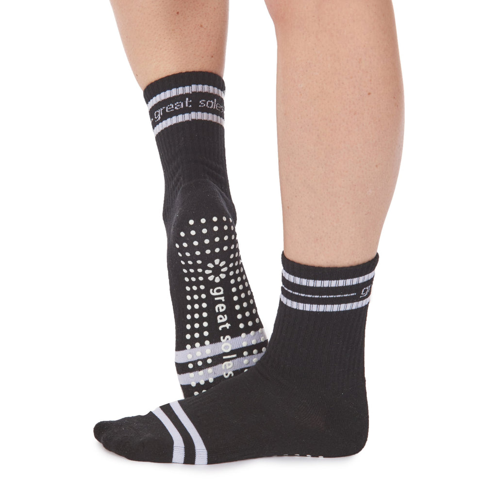 Great Soles Jess Crew Grip Sock Black White