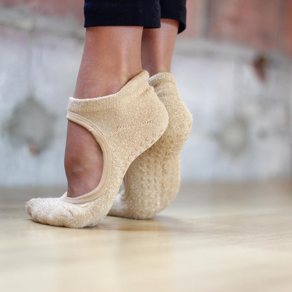 Isabella Sand/Gold Grip Socks (Pilates & Barre)