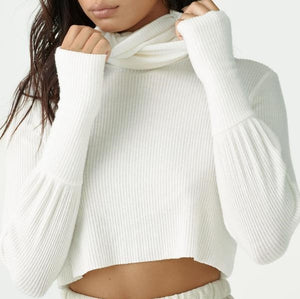Joah Brown Cropped Turtleneck Sweater Ivory Rib Sweater Knit