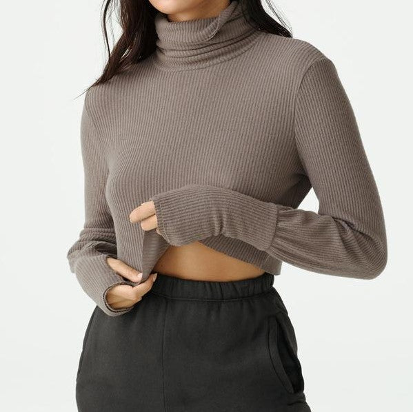 Joah Brown Cropped Turtleneck Sweater Espresso Rib Sweater Knit