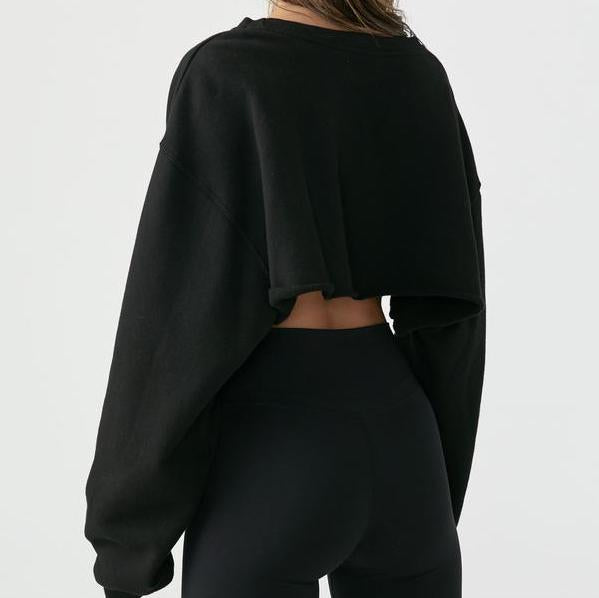 Joah Brown Cut Off Sweatshirt Black French Terry