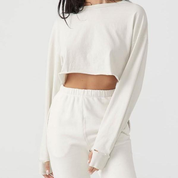 Joah Brown Soho Crop Off White Cotton