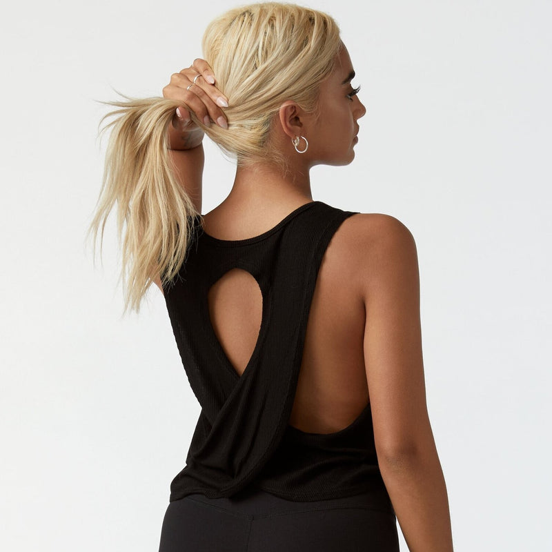 Joah Brown Half Moon Crop Top Black Rib
