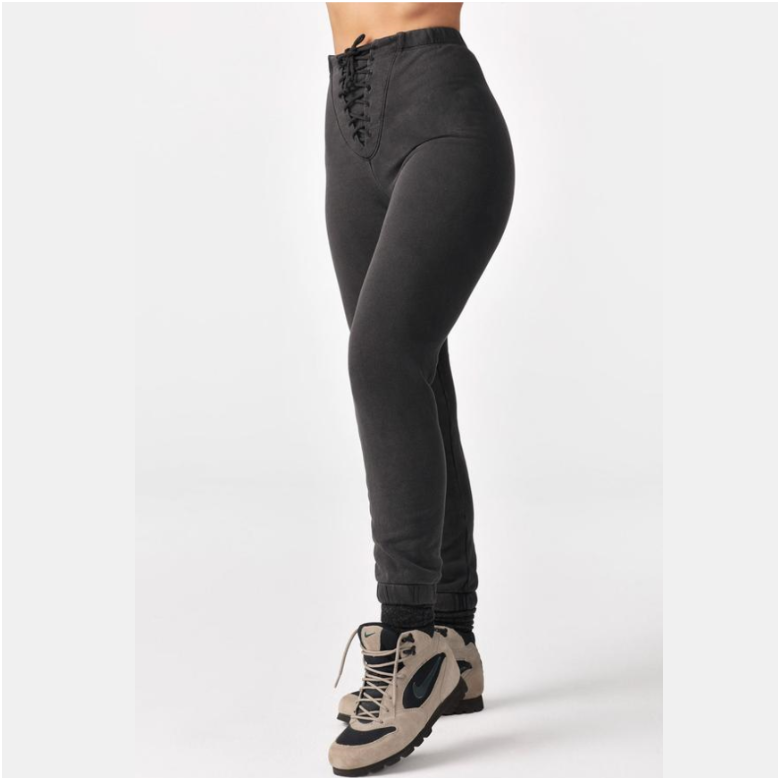 Joah Brown Lace Up Jogger - Washed Black French Terry