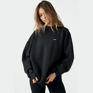Joah Brown Classic Crew Pullover Black French Terry w/ Logo