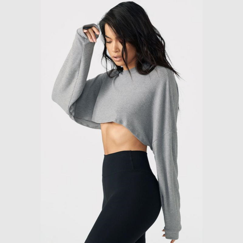Joah Brown Slouchy Crop Pullover Grey Rib Sweater Knit