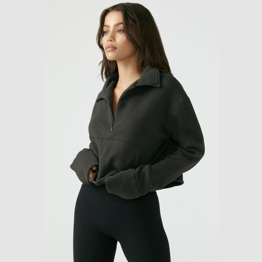 Joah Brown Aspen Half Zip Sweatshirt Charcoal French Terry