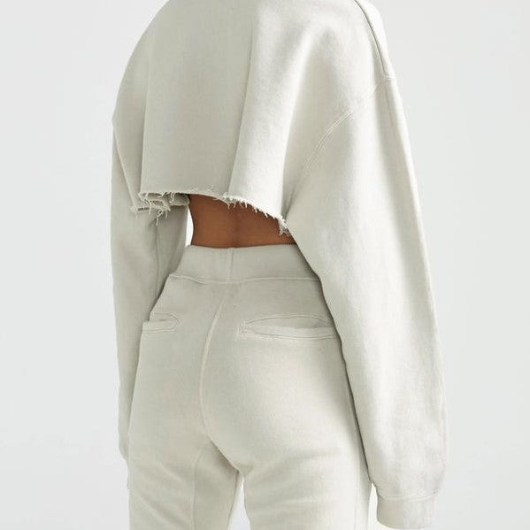 Joah Brown Cut Off Sweatshirt Sahara French Terry
