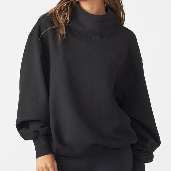 Joah Brown Oversized Turtleneck Sweatshirt - Black French Terry