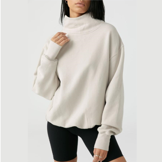 Joah Brown Oversized Turtleneck Sweatshirt Sahara French Terry