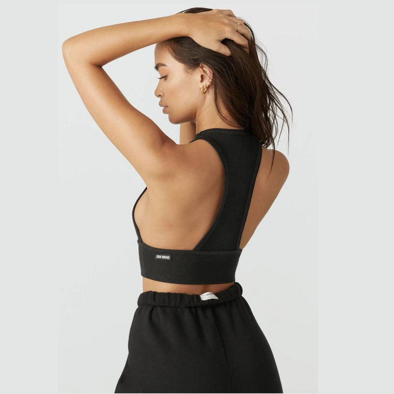Joah Brown Longline Tank  - Black Flexrib