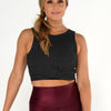 Joah Brown Marathon Crop Top Charcoal Flexrib