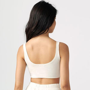 Joah Brown Sporty Crop Off White Cotton