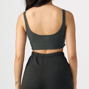 Joah Brown Sporty Crop Washed Black Cotton