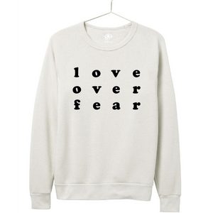 Luciana Love Over Fear Crewneck  Ivory