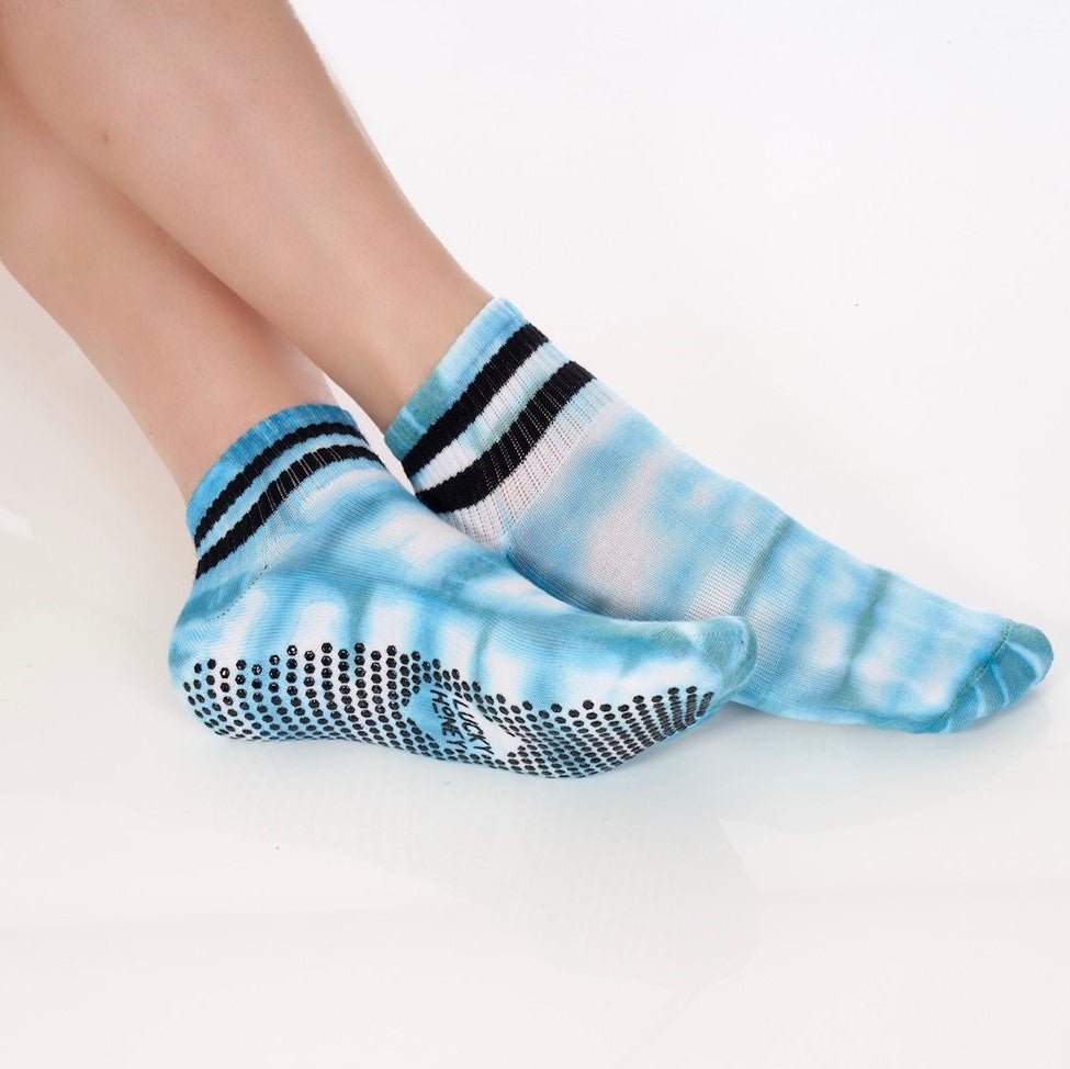 Lucky Honey Tie Dye Boyfriend Blue Grip Sock