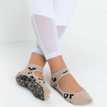 MoveActive Slide On Cheetah Nude Grip Socks