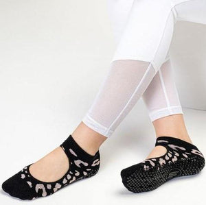 MoveActive Slide On Cheetah Sparkle Rosé Black Grip Socks