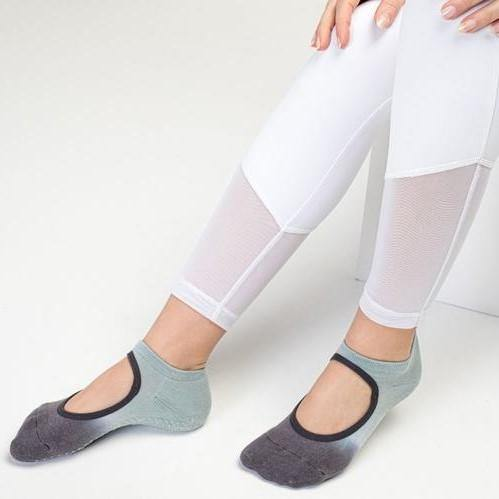 MoveActive Slide On Dark Light Grey Grip Socks
