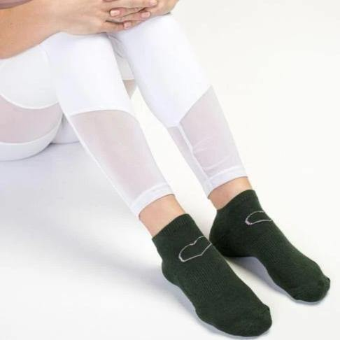 Move Active Classic Low Rise I Heart Myself Army Green Grip Socks