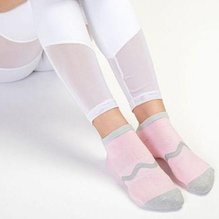 Move Active Classic Low Rise Wavy Baby Pink Grip Socks