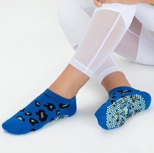 Move Active Classic Low Rise Grip Sock Cheetah Blue