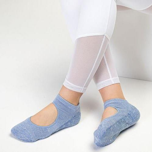 Slide On Grip Socks Powder Blue Sparkle