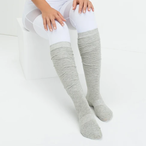 Move Active Over the Knee Non Slip Grip Sock Shimmer Silver
