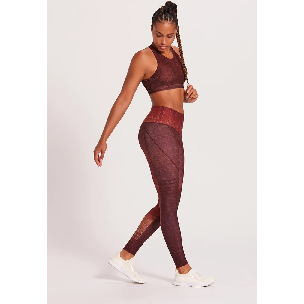 Niyama Sol Croc High Waisted Slice Legging - Chocolate