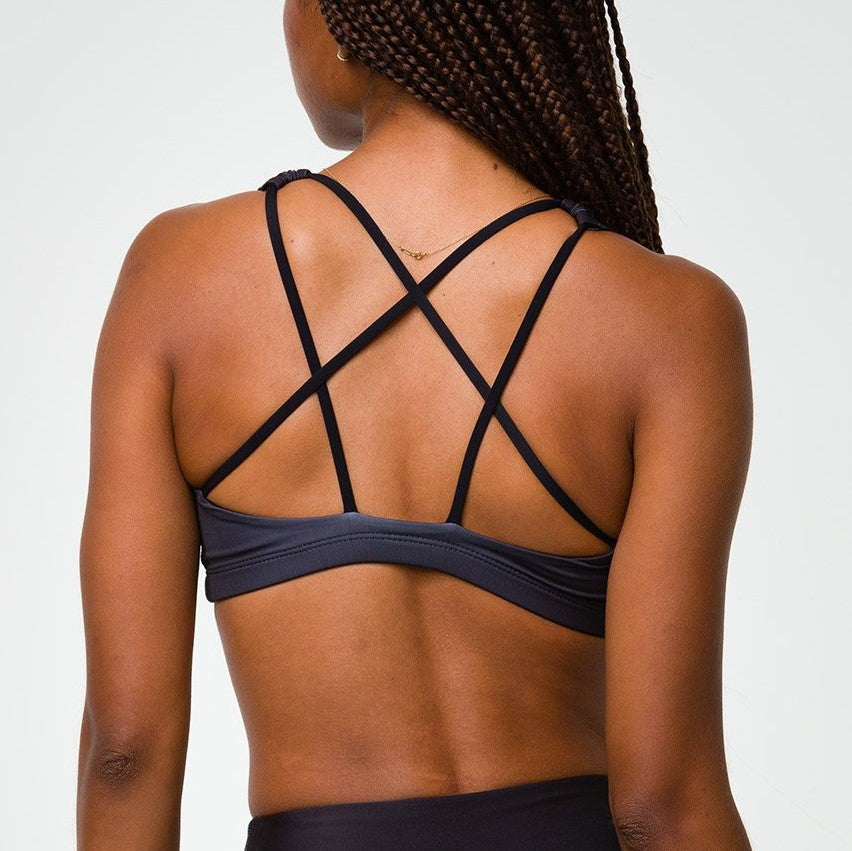 onzie graphic mudra bra midnight palm