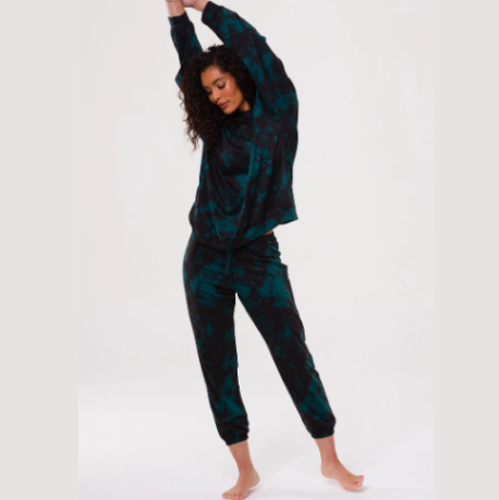 Onzie Fleece Sweatpant Emerald Tie Dye