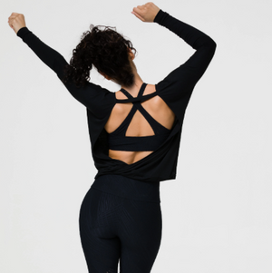 Onzie Drapey V Back Black long sleeve top