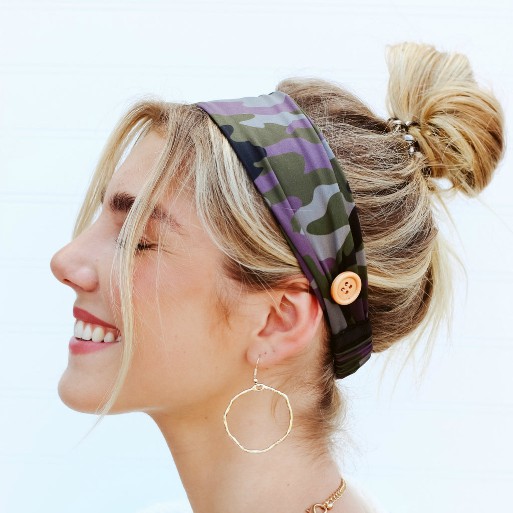 Pretty Simple Me Camo Headband with Buttons for Face Mask