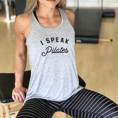 I Speak Pilates Tank Top - Light Grey & Black