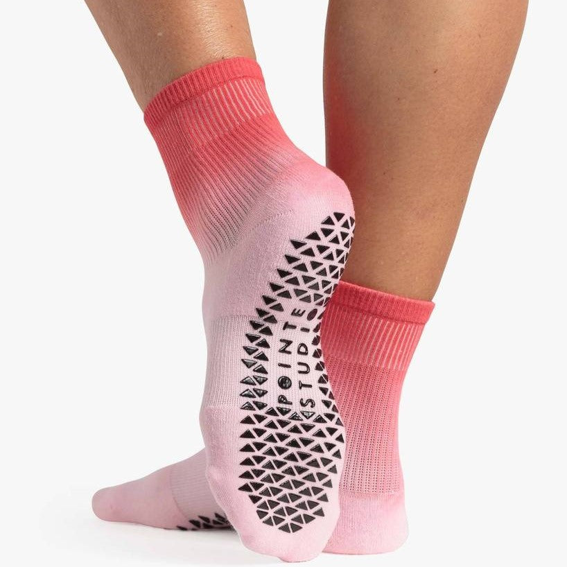 Pointe Studio Cameron Ankle Grip Sock Pink Red