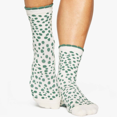 Pointe Studio Dots Crew Grip Sock Dark Green