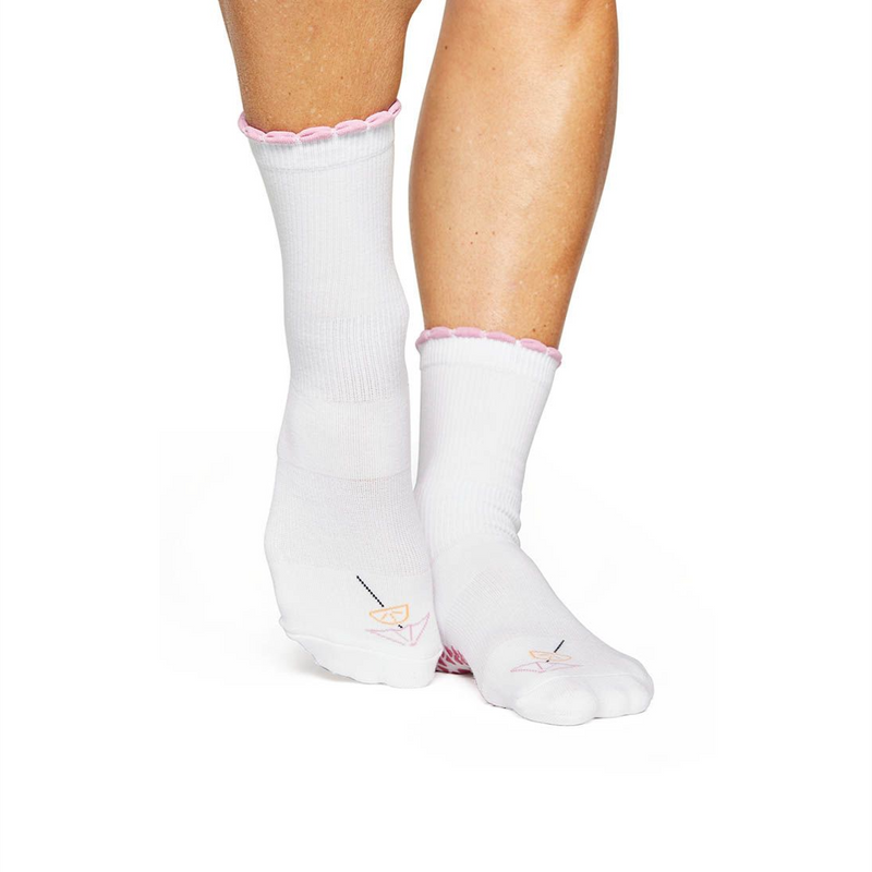 Pointe Studio Happy Hour Crew Grip Sock Bright White