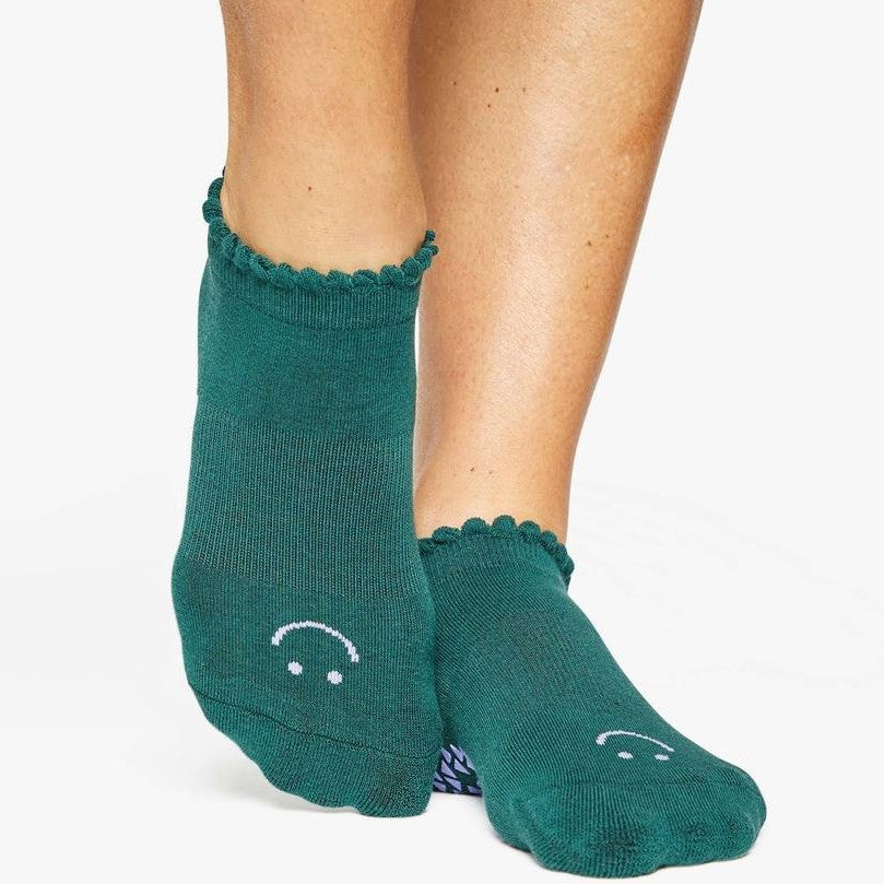 Pointe Studio Happy Grip Sock Dark Green