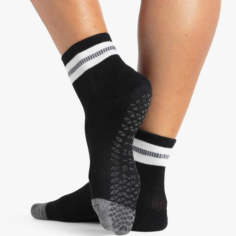 Pointe Studio Sara Ankle Grip Sock Black Charcoal