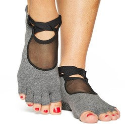 Pointe Studio Clean Cut Toeless Grip Sock Charcoal Heather Gray