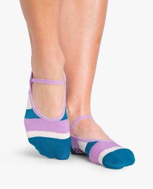 Pointe Studio Astrid Grip Sock Teal Oatmeal